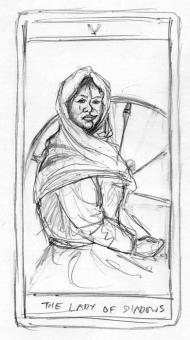 lady of shadows card rough - obrazek