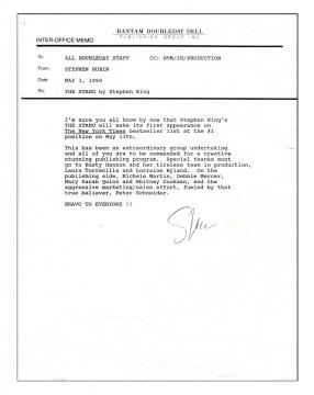 Steve Rubin - Doubleday Interoffice Memo