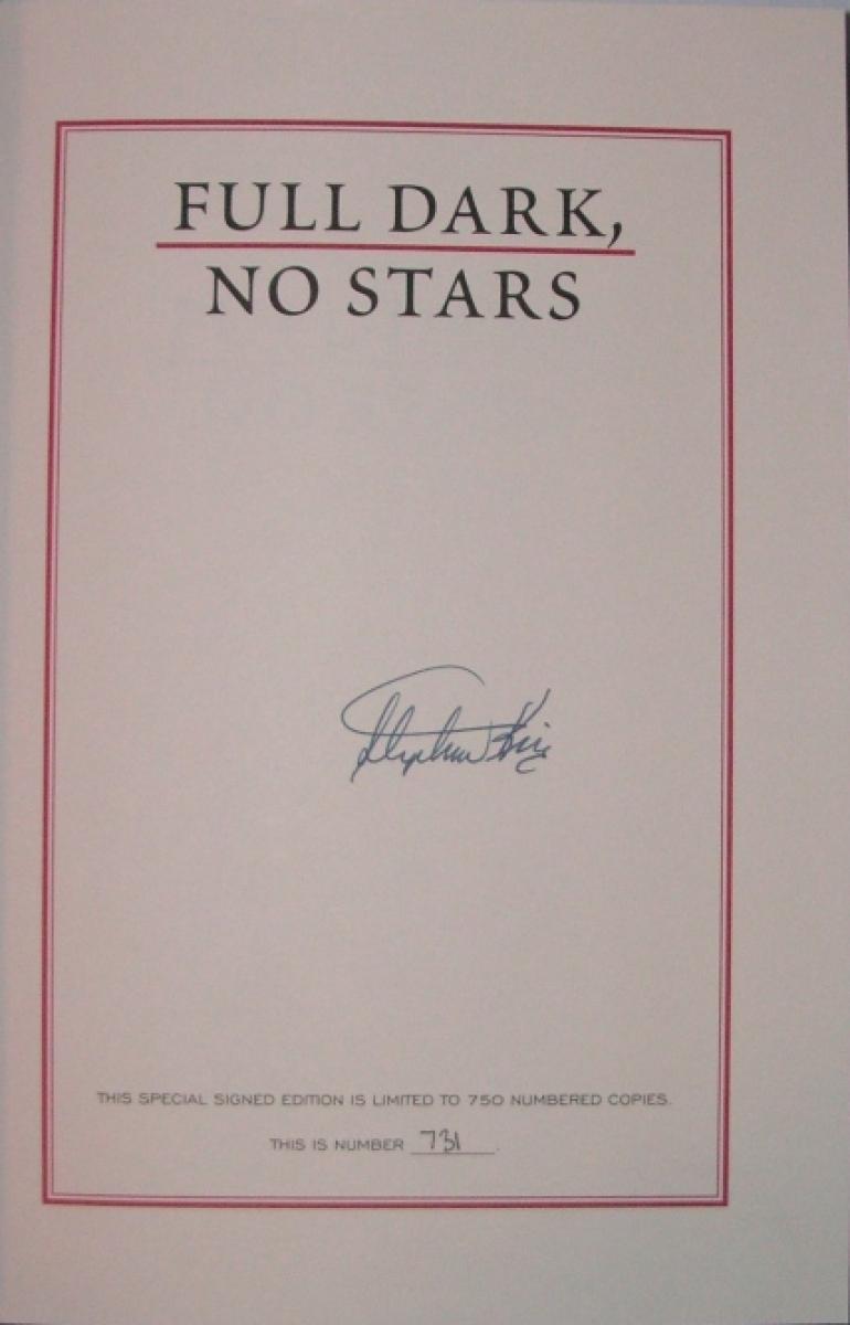 """Full Dark, No Stars"" - strona z autografem Stephena Kinga - obrazek"