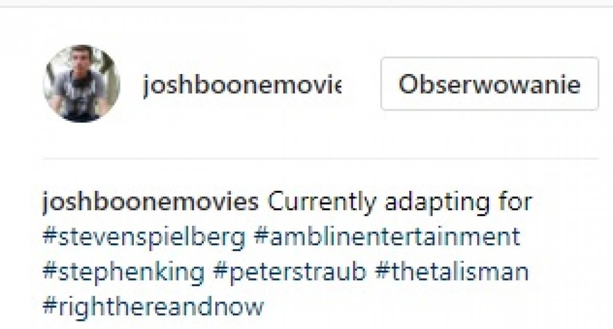 Josh Boona pisze scenariusz Talizmanu - obrazek