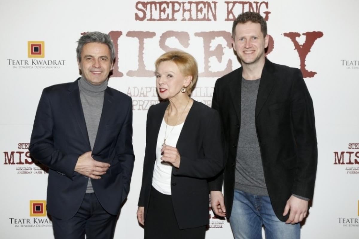 Piotr Polk, Ewa Wencel oraz Marcin Piętowski na premierze Misery (zdjęcie AKPA) - obrazek