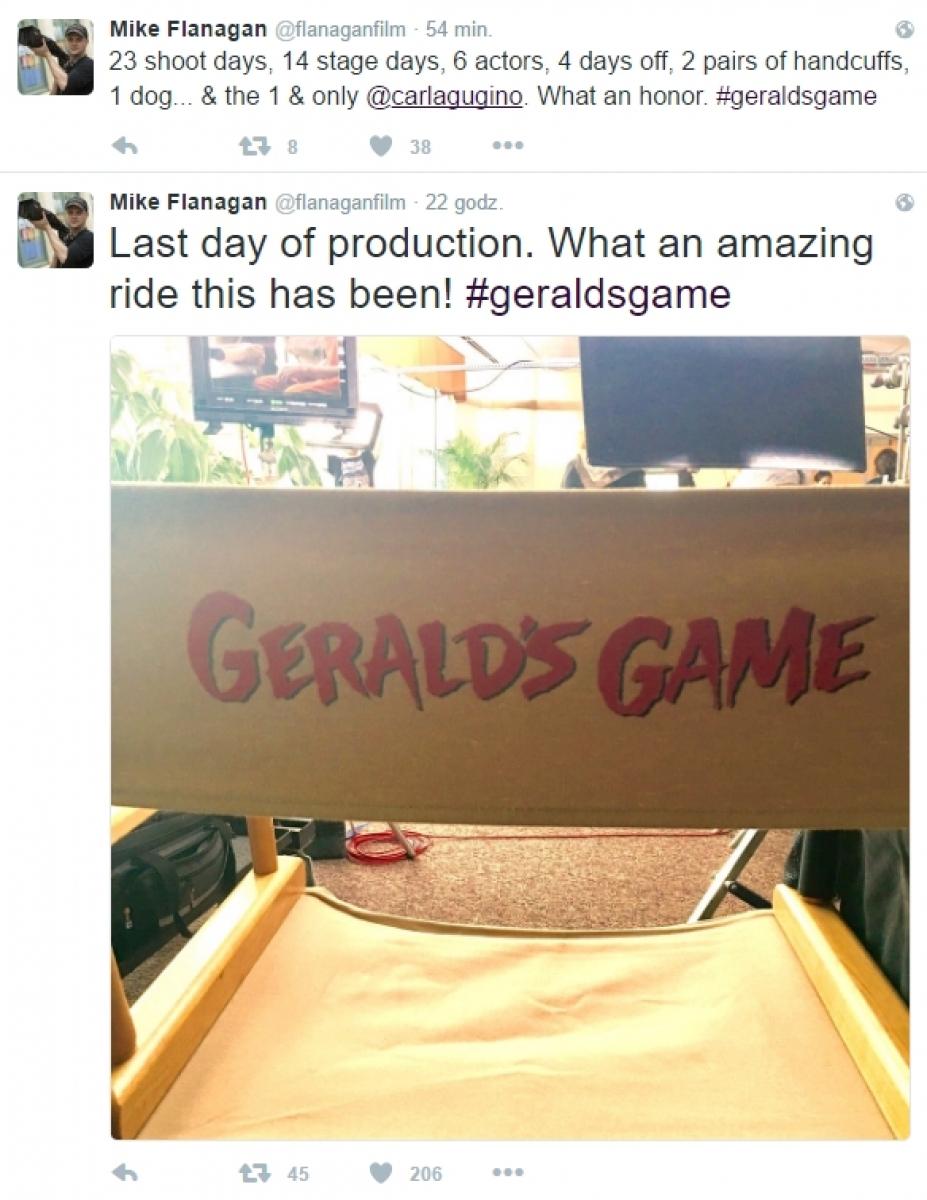 Mike Flanagan na zakończenie zdjęć do filmu Gra Geralda - obrazek