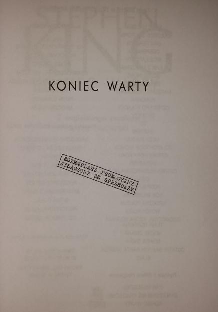 Koniec Warty (Albatrso) ARC - strona tytułowa