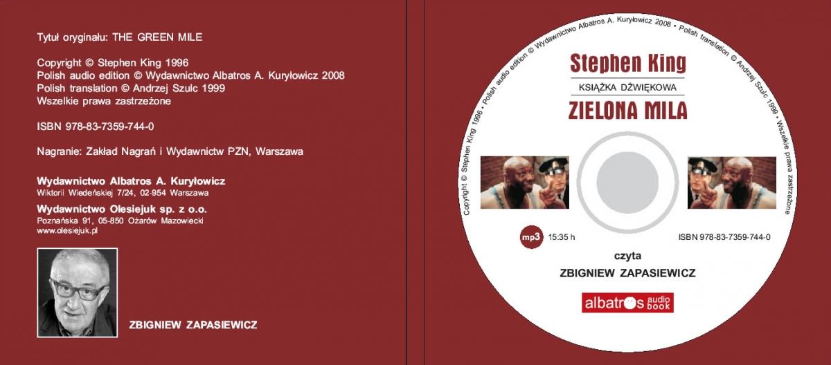 """""""Zielona mila"""" - audiobook - płyta - obrazek"""