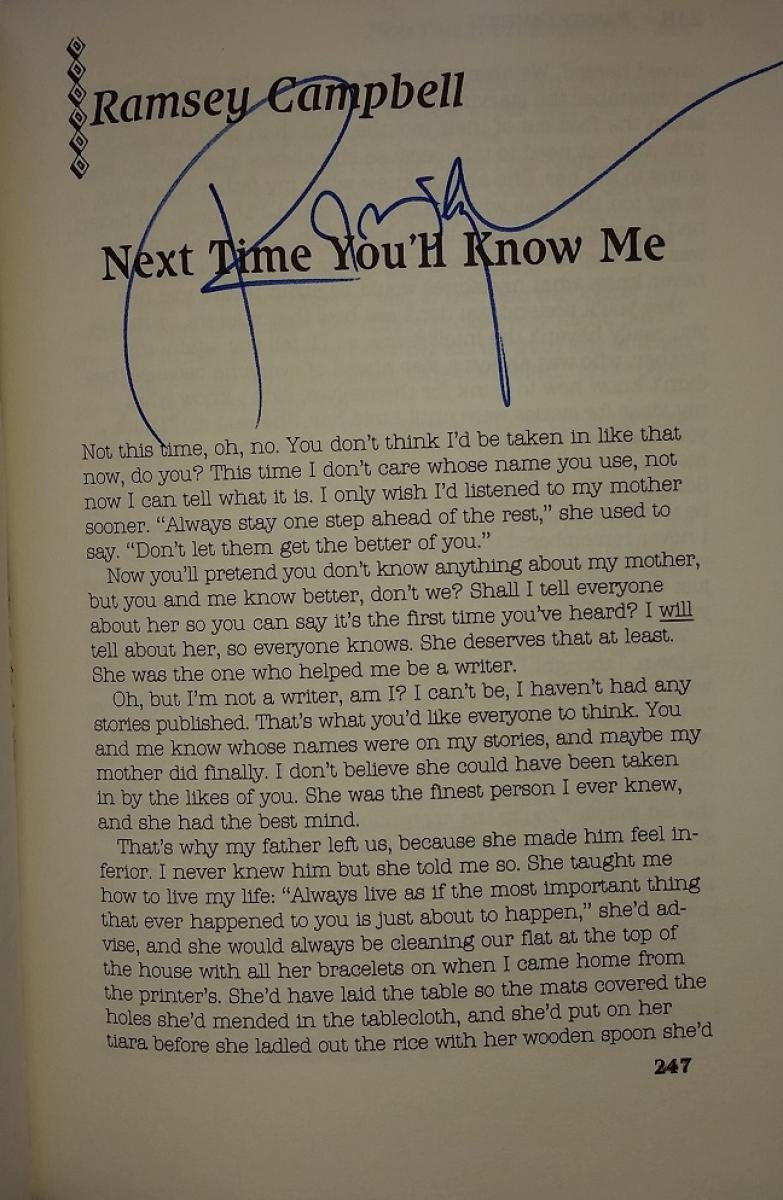 """Prime Evil"" - autograf Ramsey Campbell - obrazek"