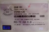 Spotkanie ze Stephenem Kingiem - bilet do Grand Rex, Paryż 16 listopad 2013