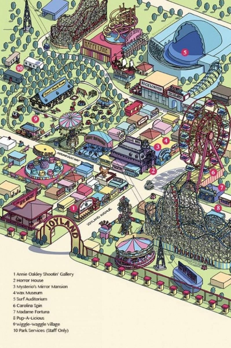 """""""Joyland"""" (Titan Books) mapa parku autorstwa Susan Hunt Yule - obrazek"""