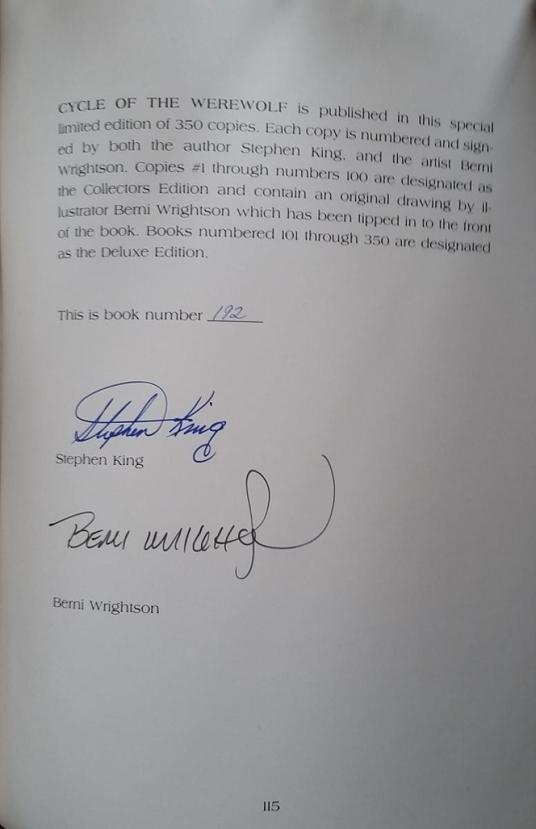 """Cycle of the Werewolf"" - autograf Stephena Kinga i Bernie Wrightsona - obrazek"