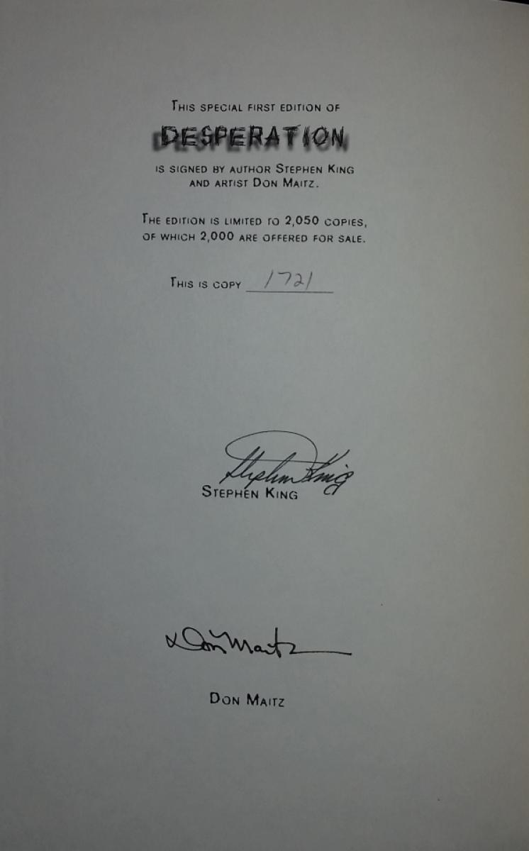 """Desperation"" - autograf Stephena Kinga i Dona Maitza - obrazek"