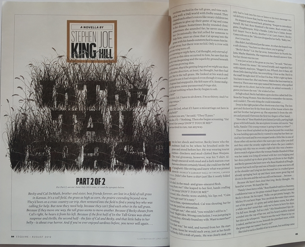 """""""Esquire"""" 8/2012 z opowiadaniem """"In the Tall Grass"""" - obrazek"""