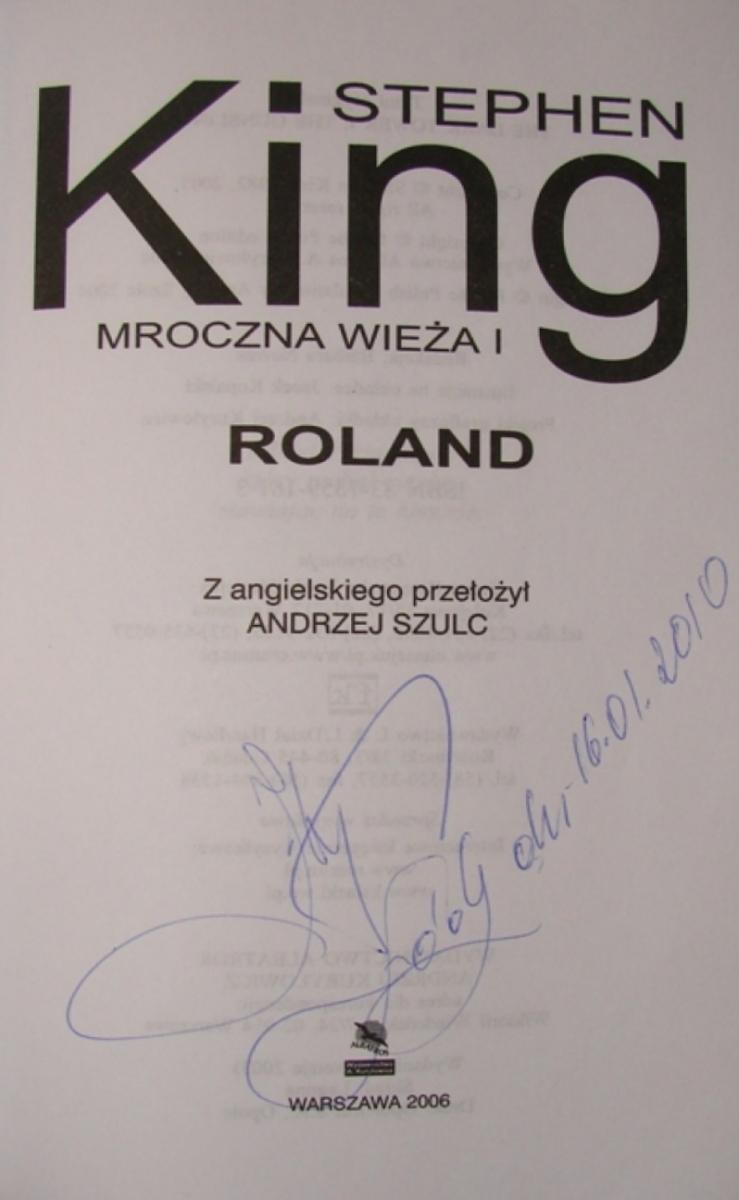 """""""Mroczna WieĹźa I: Roland"""" (wersja 2003) - autgraf Jacek Kopalski - obrazek"""