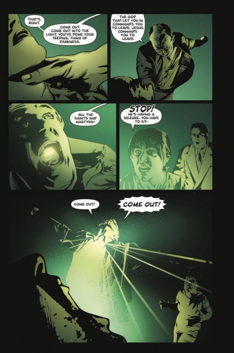 """Przykładowa strona z komiksu """"Little Green God of Agony"""" - obrazek"""
