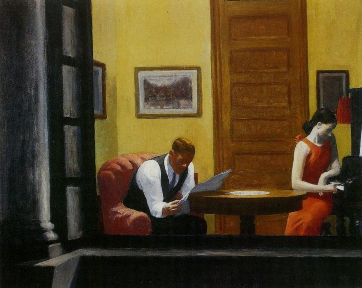 Room in New York (Edward Hopper, rok 1932) - obrazek