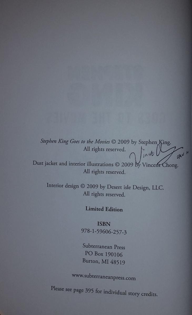 """Stephen King Goes to the Movies"" - dodatkowy autograf Vincenta Chonga - obrazek"