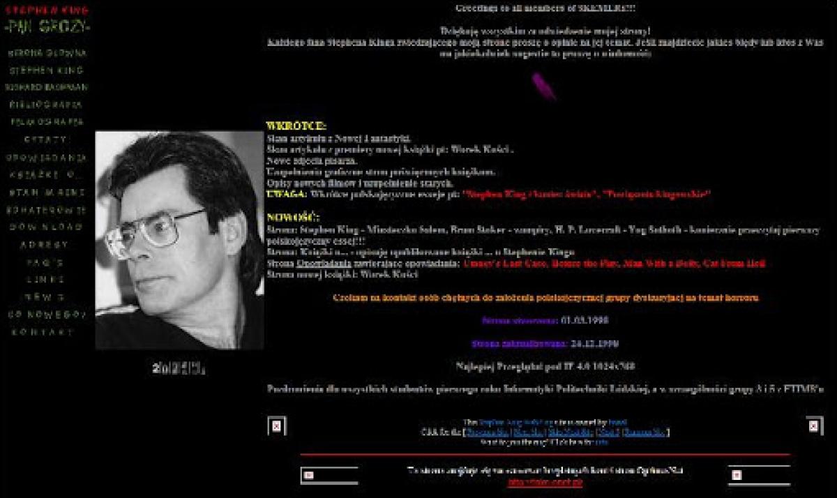 """""""Stephen King - Pan Grozy"""" - pierwsza wersja serwisu z 1998 roku - obrazek"""